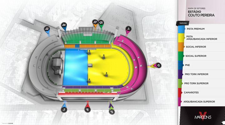 Maroon 5 em Curitiba: veja o mapa de setores e saiba por onde entrar no estádio