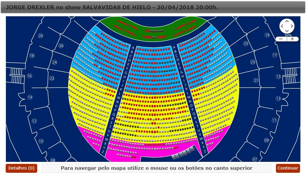 Mapa de setores do show na Ópera de Arame
